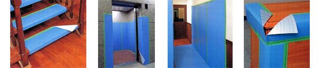 階段の養生、エレベーターの養生、壁や床、家具の養生に
